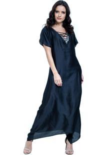 Vestido 101 Resort Wear Kaftan Decote V Longuete Cetim Preto