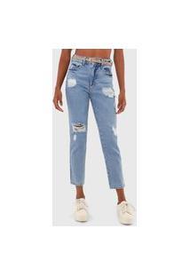 Calça Cropped Jeans Colcci Slim Suki Azul