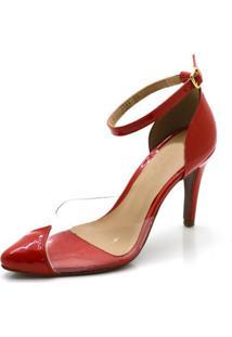 Sapato Scarpin Salto Alto Em Napa Verniz Vermelha Com Transparência