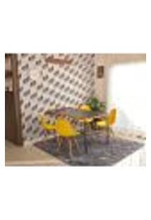 Conjunto De Mesa Dobrável Retrátil 1,40 Preto/Noronha + 4 Cadeiras Eiffel - Amarela