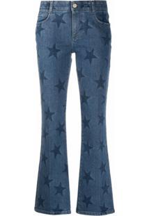 Stella Mccartney Calça Jeans Flare Com Estampa De Estrela - Azul
