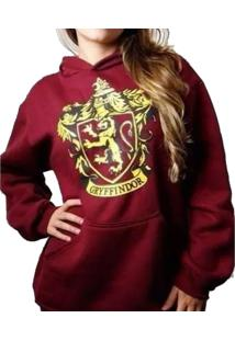 Blusa Moletom Harry Potter Gryffindor Grifinoria Feminino Roxo - Kanui