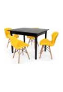 Conjunto Mesa De Jantar Robust 110X90 Preta Com 4 Cadeiras Eames Eiffel Slim - Amarela