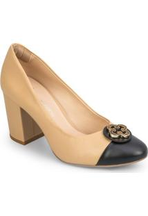 Sapato Tradicional Em Couro Com Tag - Nude & Pretocapodarte