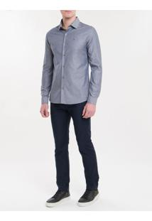 Camisa Slim Monte Carlo Mg Longa Retangu - Marinho - 1