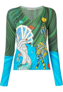 Mary Katrantzou Blusa Estampada 'Bowles Surreal' - Verde