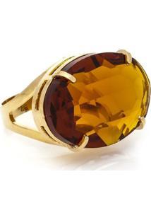 Anel Cristallo Cristal Oval Topazio Imperial - Feminino-Dourado