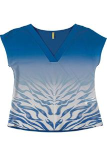 Blusa Com Estampa Animal Print Azul