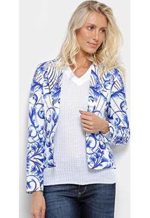 Blazer Road Mel Floral Feminino - Feminino-Branco+Azul