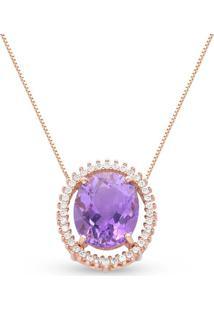 Pingente Ouro Rosã© Ametista E Diamantes