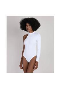 Body Feminino Um Ombro Só Assimétrico Canelado Gola Alta Branco