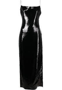 Balmain Vestido Com Aplicação De Paetês E Fenda Lateral - Preto