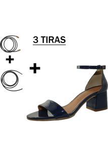 Sandália Troca Tira Salto Baixo Grosso Verniz Azul Marinho Mod. 2015-2 - Kanui