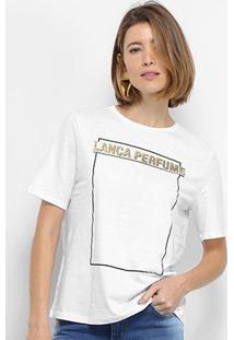 Camiseta Lança Perfume Box Logo Feminina - Feminino-Branco