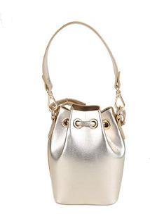Bolsa Shoestock Bucket Mini Feminina - Feminino-Dourado