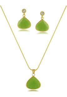 Conjunto Colar E Brinco Gota Com Pedra Verde 3Rs Semijoias Dourado