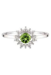 Anel Ouro Branco Turmalina Verde E Diamantes