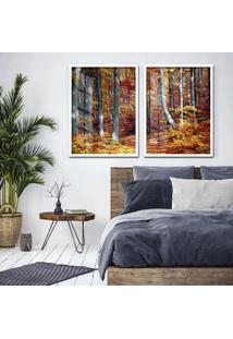 Quadro 65X90Cm Floresta Canadã¡ Moldura Branca Com Vidro - Multicolorido - Dafiti