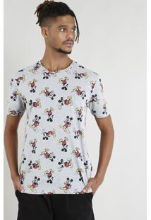 Camiseta Masculina Mickey Mouse Estampada Manga Curta Cinza Mescla