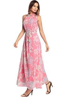 Vestido Longo Floral Sem Manga - Rosa Xg