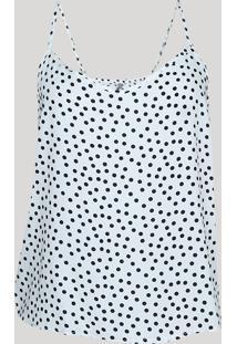 Regata De Pijama Feminina Estampada De Poá Alças Finas Branco