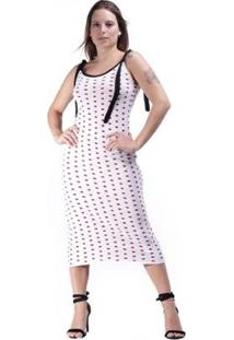 Vestido Tricot Amazonia Vital Veneza Feminino - Feminino-Branco