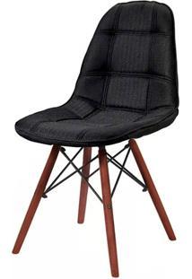 Cadeira Quadra Linho Base Madeira Escura Ordesign