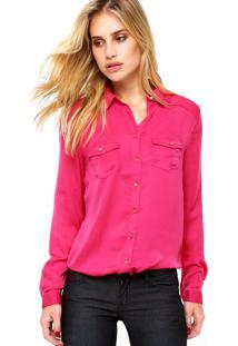 Camisa Manga Longa Forum Bolsos Rosa