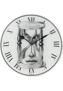 Fornasetti Relógio Redondo De Parede Com Estampa - Branco