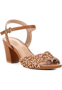 Sandália Shoestock Salto Bloco Macramê Feminina - Feminino-Caramelo
