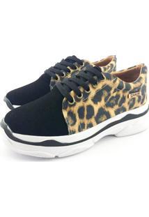 Tênis Chunky Quality Shoes Feminino Animal Print E Preto 38