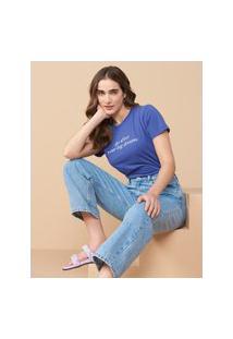Amaro Feminino T-Shirt Regular Big Dreams, Azul Escuro