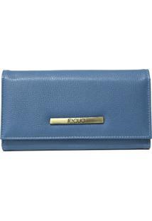 Carteira De Couro Recuo Fashion Bag Azul
