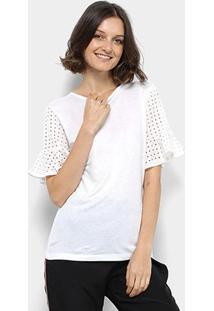 Camiseta Colcci Manga Laise Babado Feminina - Feminino-Branco