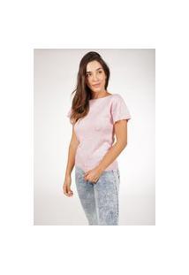 Blusa Pink Tricot Com Manga Curta De Tricot E Ponto Pérola Feminina