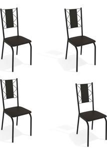 Conjunto Com 4 Cadeiras De Cozinha Lisboa Preto
