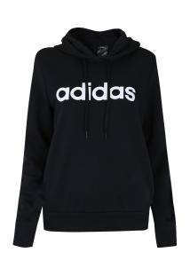 01056b37c ... Blusão Moletinho Com Capuz Adidas Essentials Linear Oh Hoodie - Feminino  - Preto/Branco
