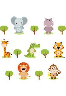 Adesivo De Parede Zoo Animais Safari Kit 18 Adesivos