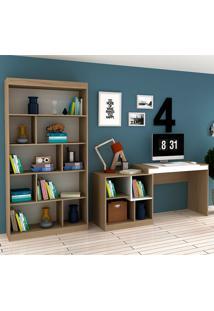Escrivaninha E Estante Com 6 Prateleiras Para Escritório-Ho-2965-Hecol - Avela / Branco