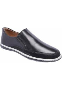 Tênis Slip On D&R Shoes Casual Em Couro Masculino - Masculino-Preto