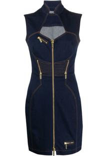 Versace Jeans Couture Fitted Zipped Denim Dress - Azul