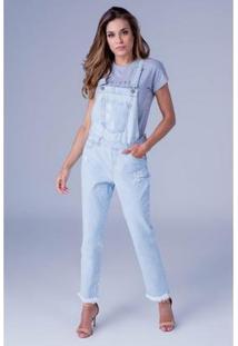 Macacão Jeans Equivoco Mila Feminino - Feminino-Azul Claro