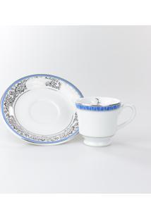 Conjunto De Xícaras Para Café C/ Pires Porcelana Schmidt 06 Peças - Dec. Júlia