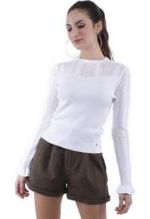 Blusa Tricô Detalhe Vazado Pop Me Feminino - Feminino-Branco