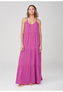 Vestido Alças Finas Em Viscose - Rosa
