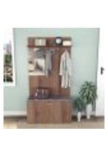 Armário Para Hall De Entrada Com 1 Porta E Espelho - Nogueira