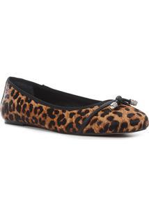 Sapatilha Couro Shoestock Onça Pelinho Strass Feminina - Feminino-Caramelo+Preto