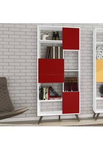 Estante 3 Portas Rt3039 Branco/Vermelho - Móvel Bento