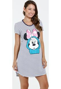 Camisola Feminina Manga Curta Listrada Minnie Disney