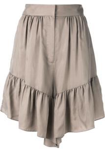 Tibi Vestido Assimétrico Com Babados - Marrom